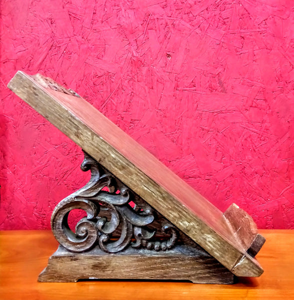 Vintage Ornate Carved Oak Reading Slope