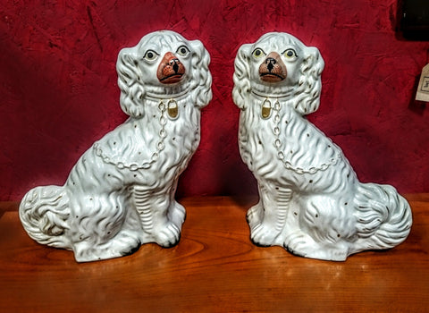 A Pair Of Circa 1860 Staffordshire Spaniels