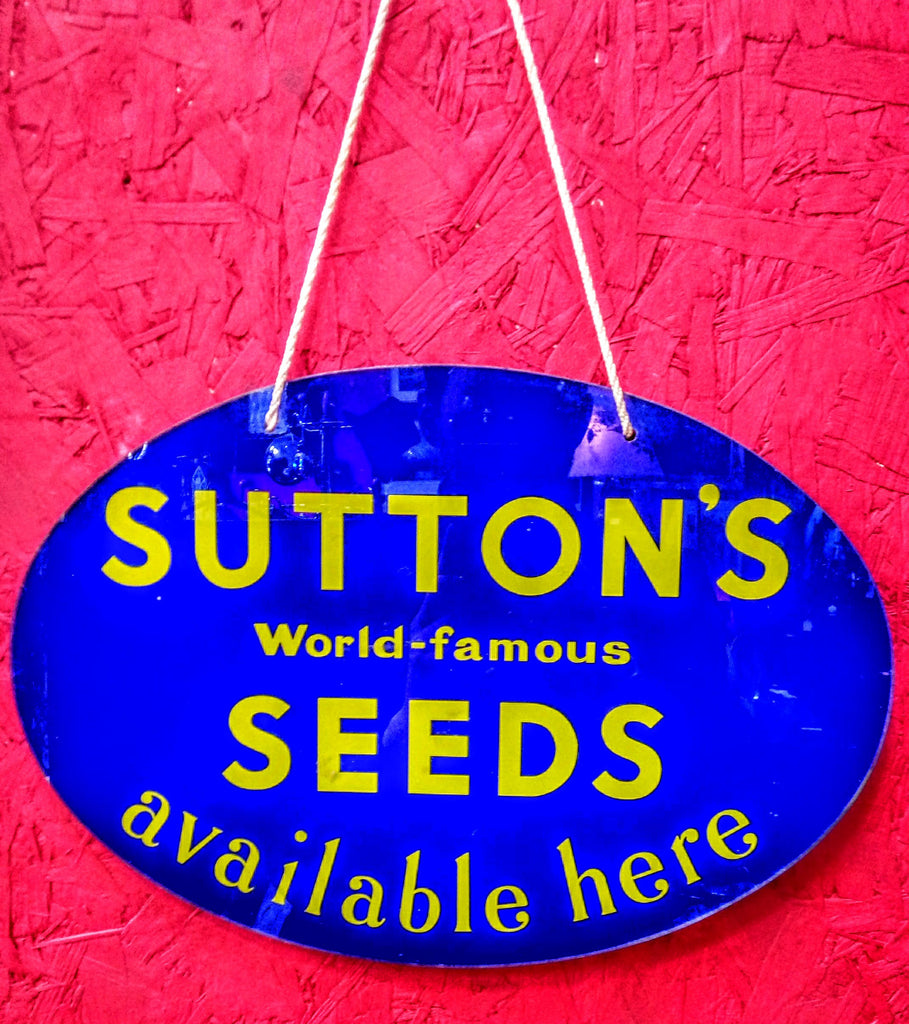 Vintage Sutton's Seeds Glass Sign