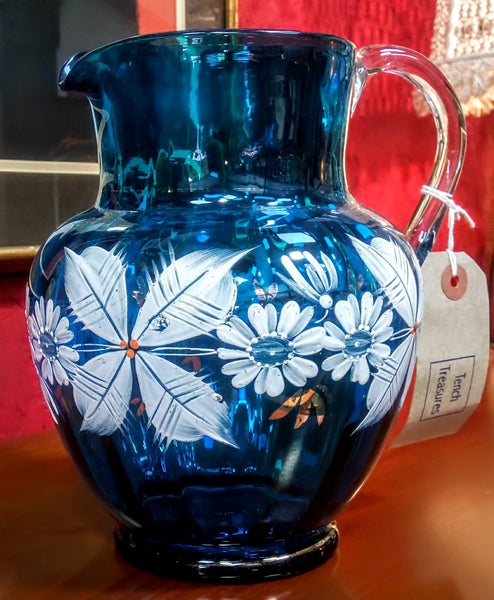 Victorian Hand Painted Glass Jug