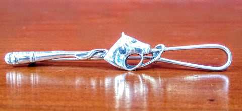 925 Silver Hunting Whip with Horse Head Detail Broach