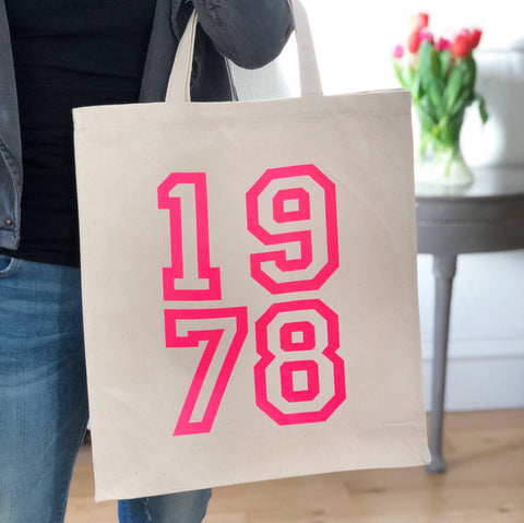 Personalised Birthday Year Tote Bag