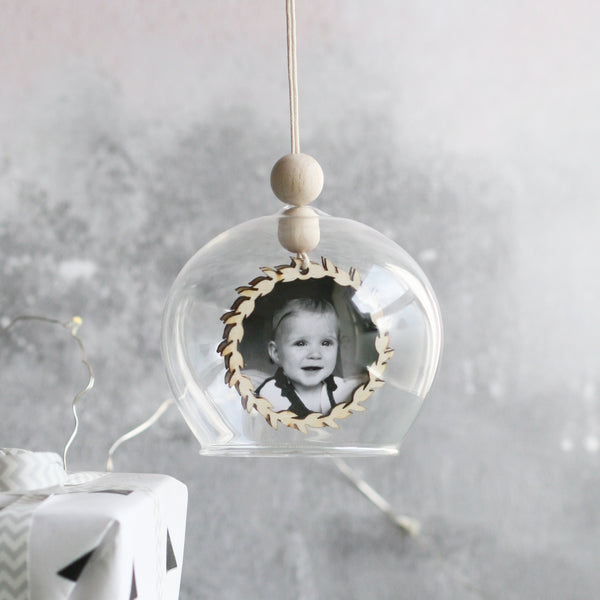 Personalised First Christmas Photograph Bauble