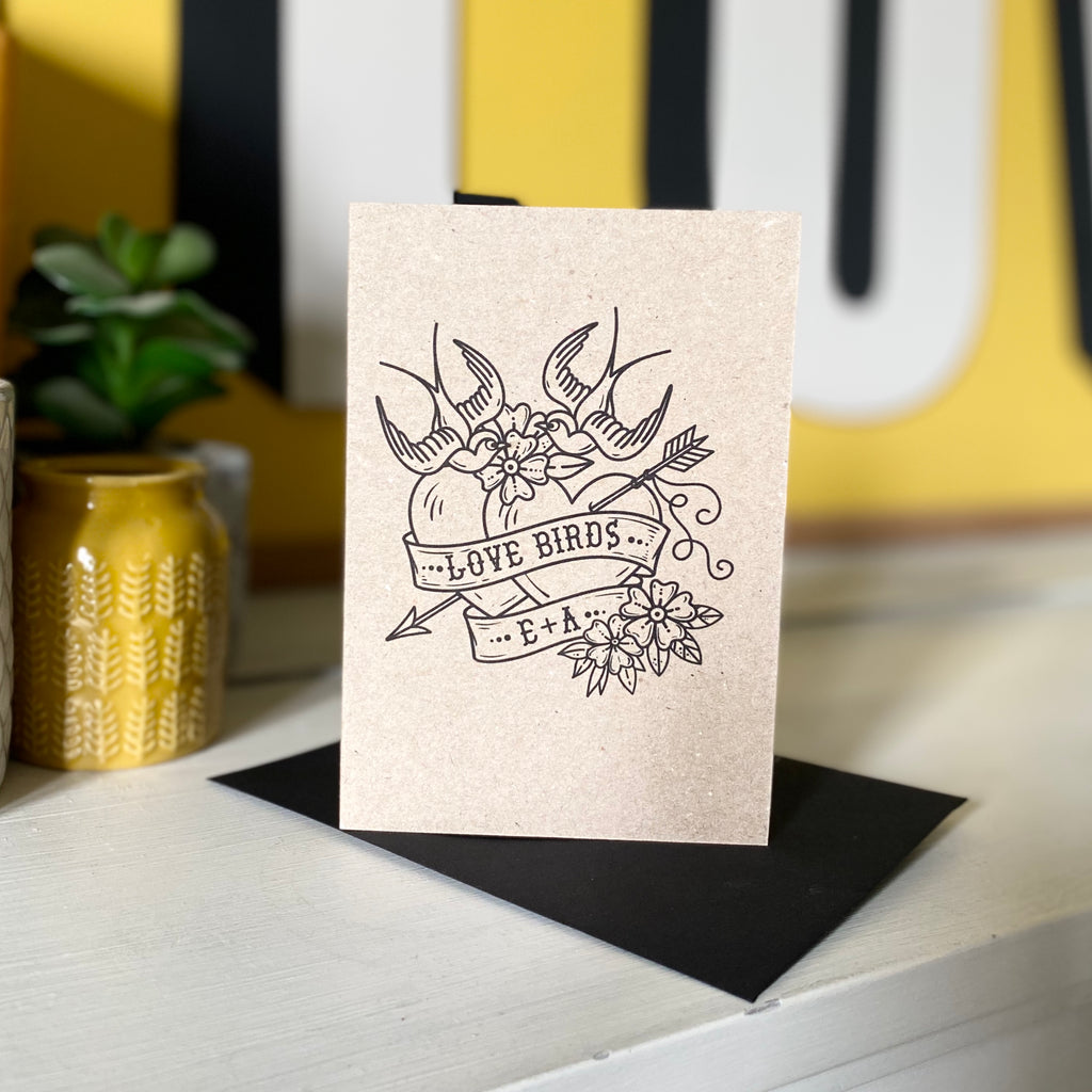 Personalised Love Birds Tattoo Card