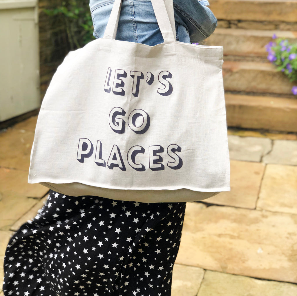 Extra Large 'Let's Go Places' Linen Bag
