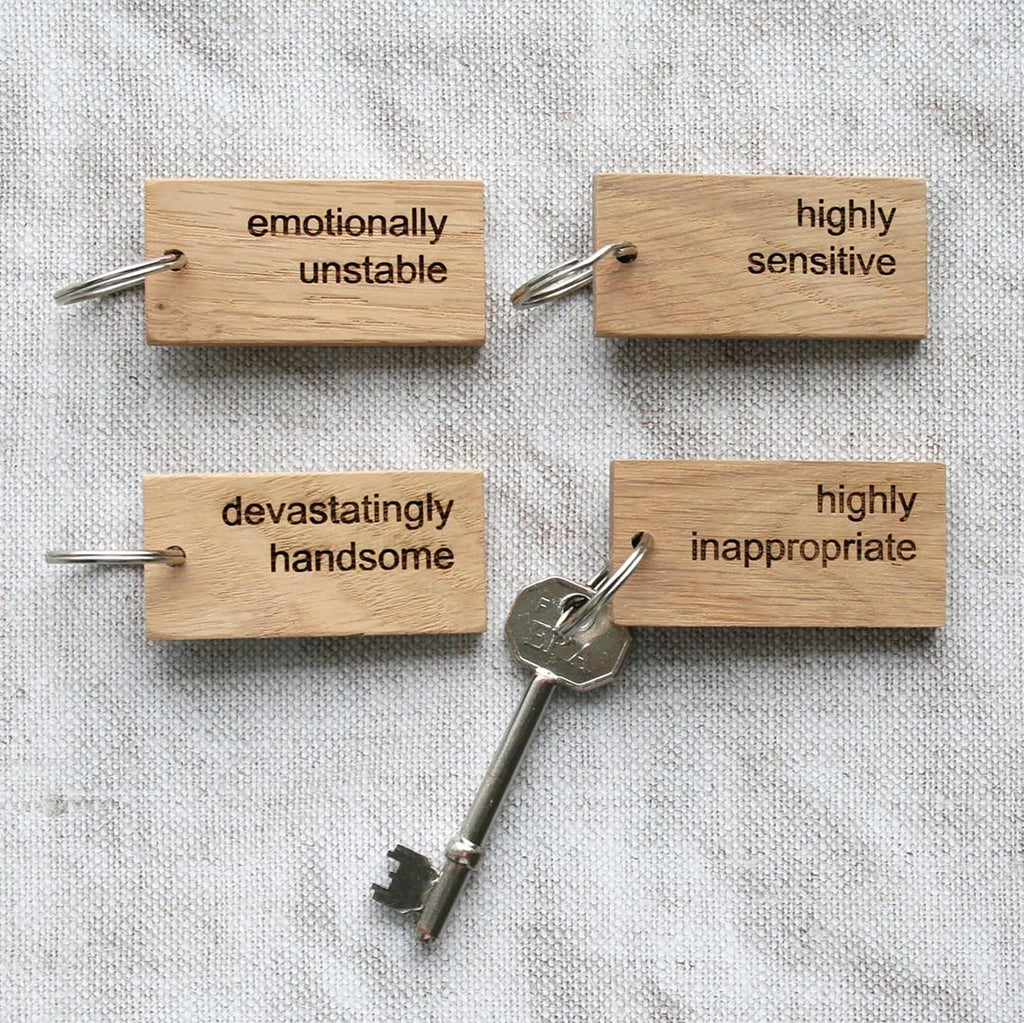 Oak Keyrings with 'Personality'