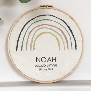Personalised Rainbow Name Hoop Art