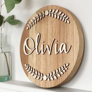 Personalised Wooden Wreath Name Plaque