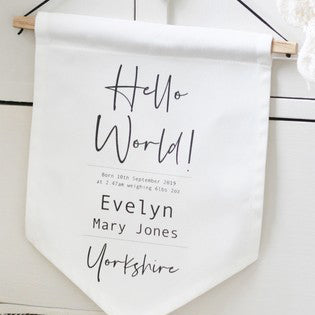 Personalised Hanging Cotton Birth Flag