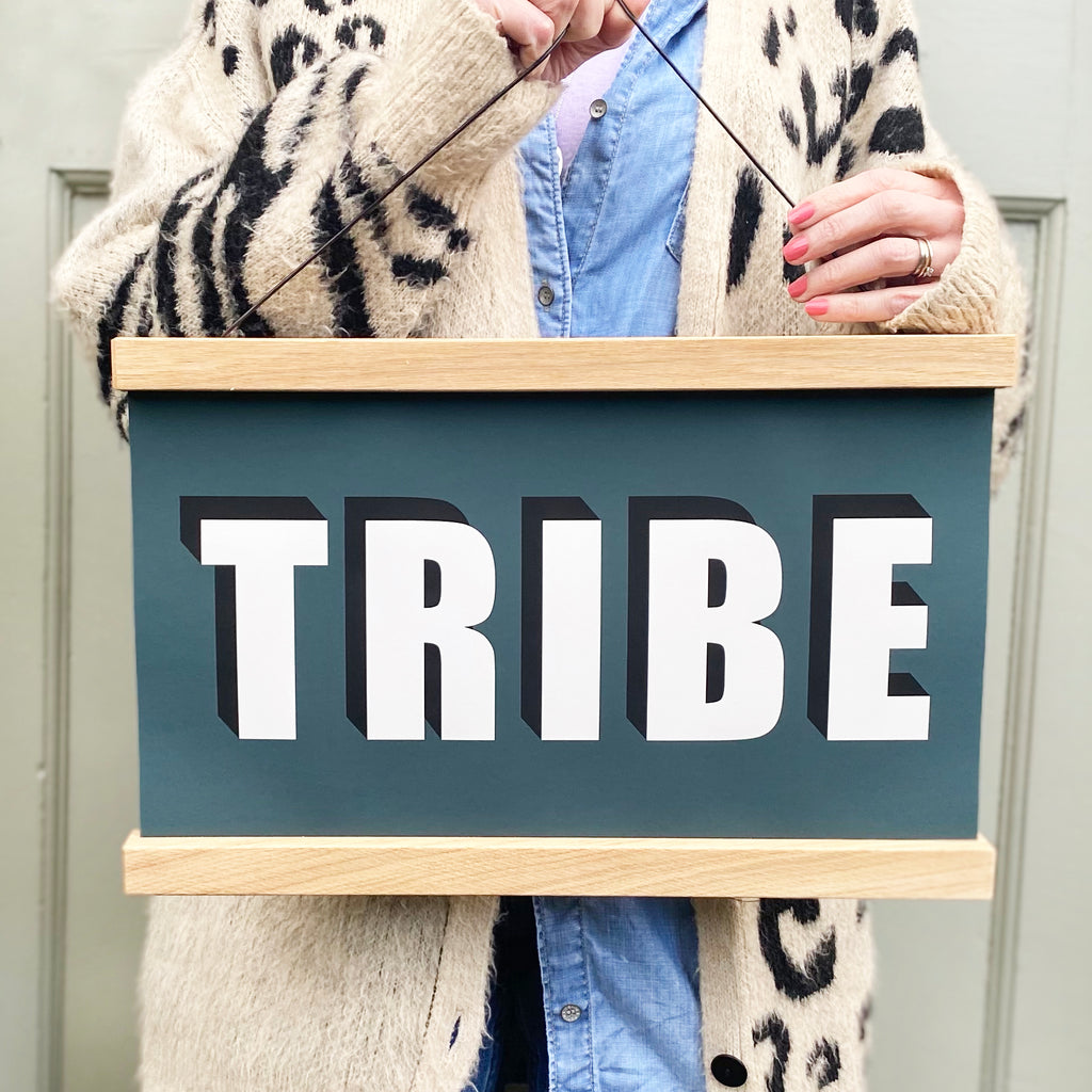 TRIBE Hanging Poster Print In teal