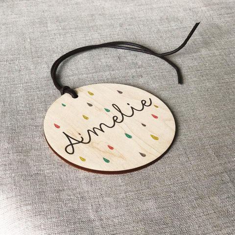Personalised Rain Drops Baby Bag Tag