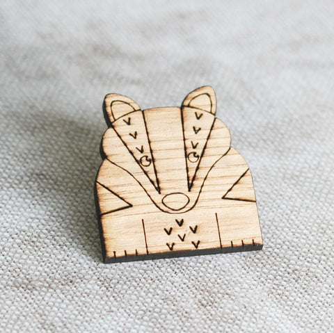 Wooden Badger Pin Badge