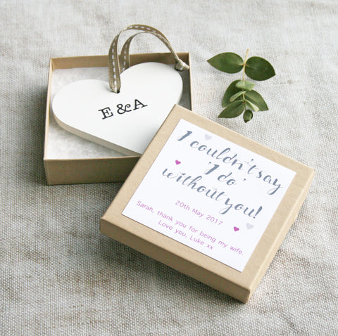 Personalised Bridesmaid Wedding Heart