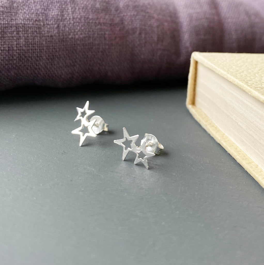 Double Star Silver Earrings