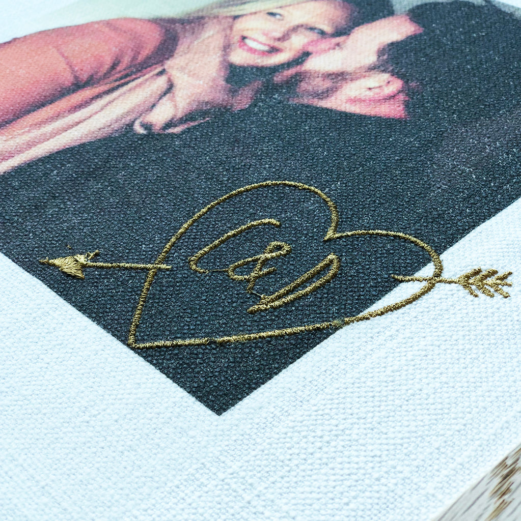 Fabric Couple Portrait with Embriodered Initials