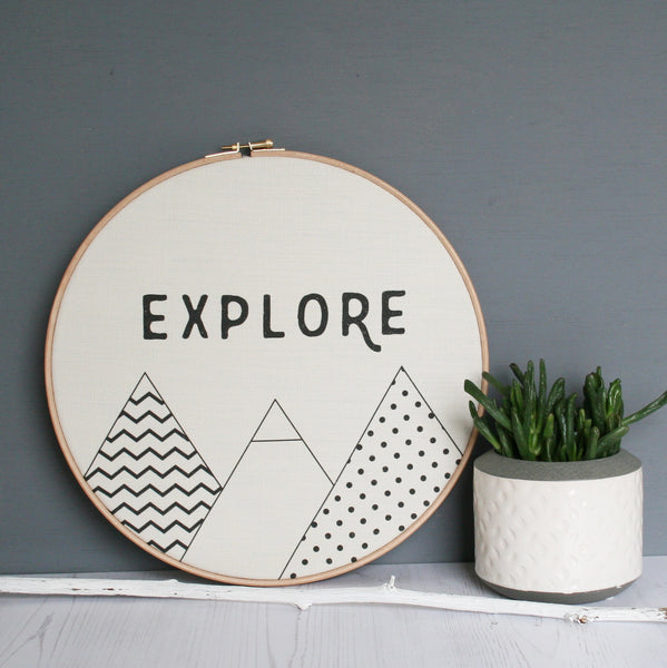 Geometric Explore Word Hoop Wholesale