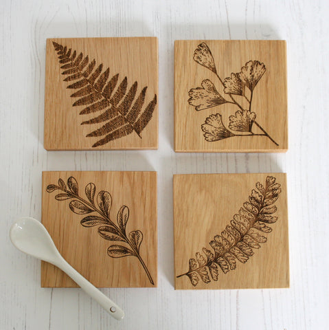Fern Engraved Oak Coasters Wholesale