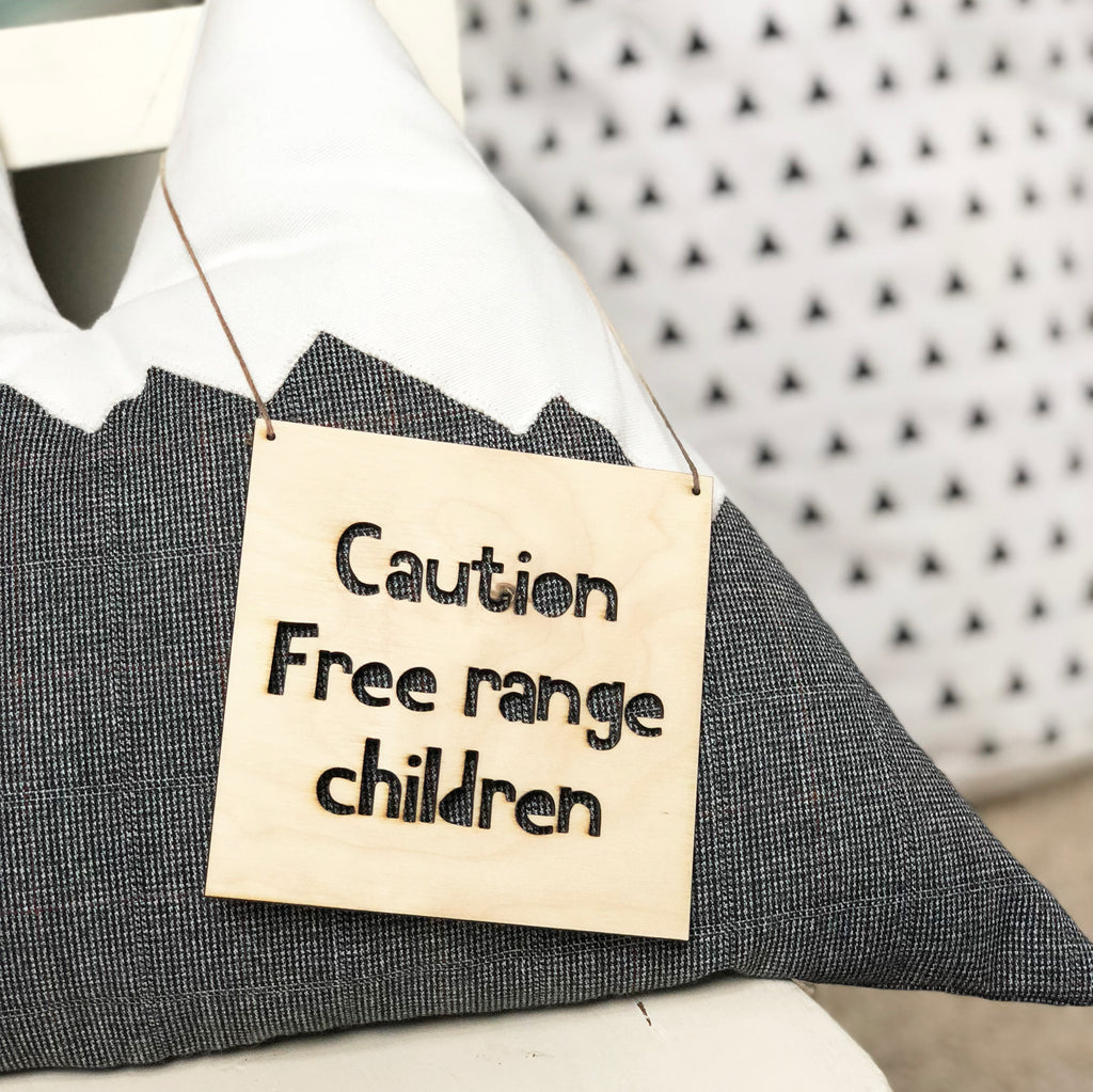 Small Wooden Free Range Children Sign