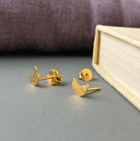 Sterling Silver Gold Coated Moon Studs
