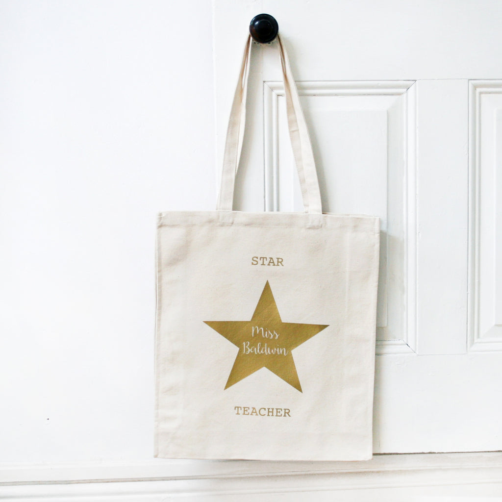 Gold Star Teacher Name Bag