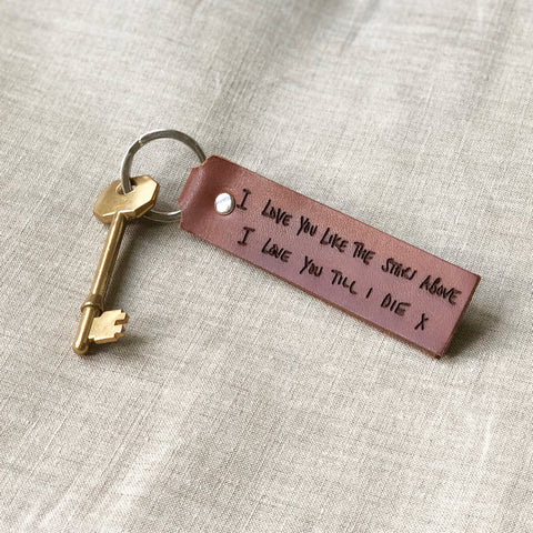 Personalised Handwriting Leather Keyring