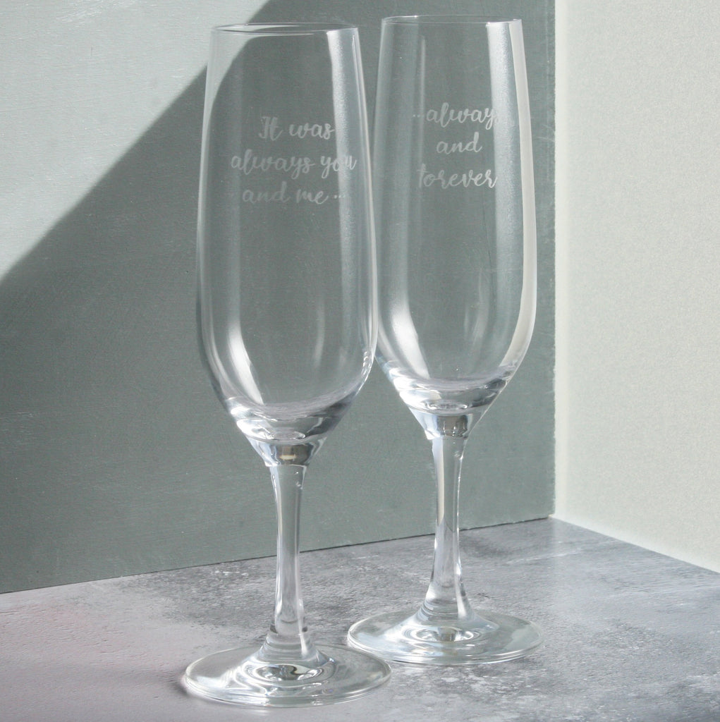 You And Me Champagne Glasses