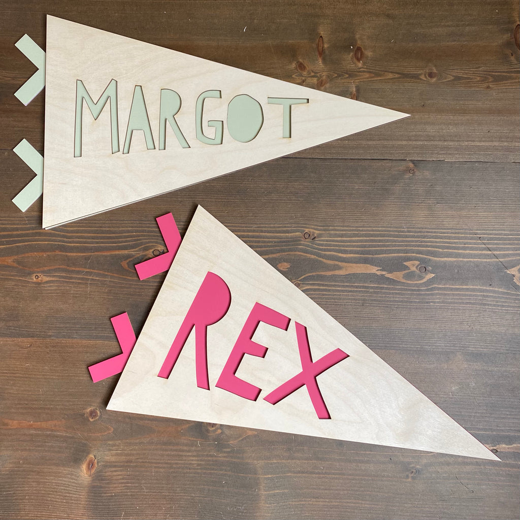Wooden Name Pennant Flag