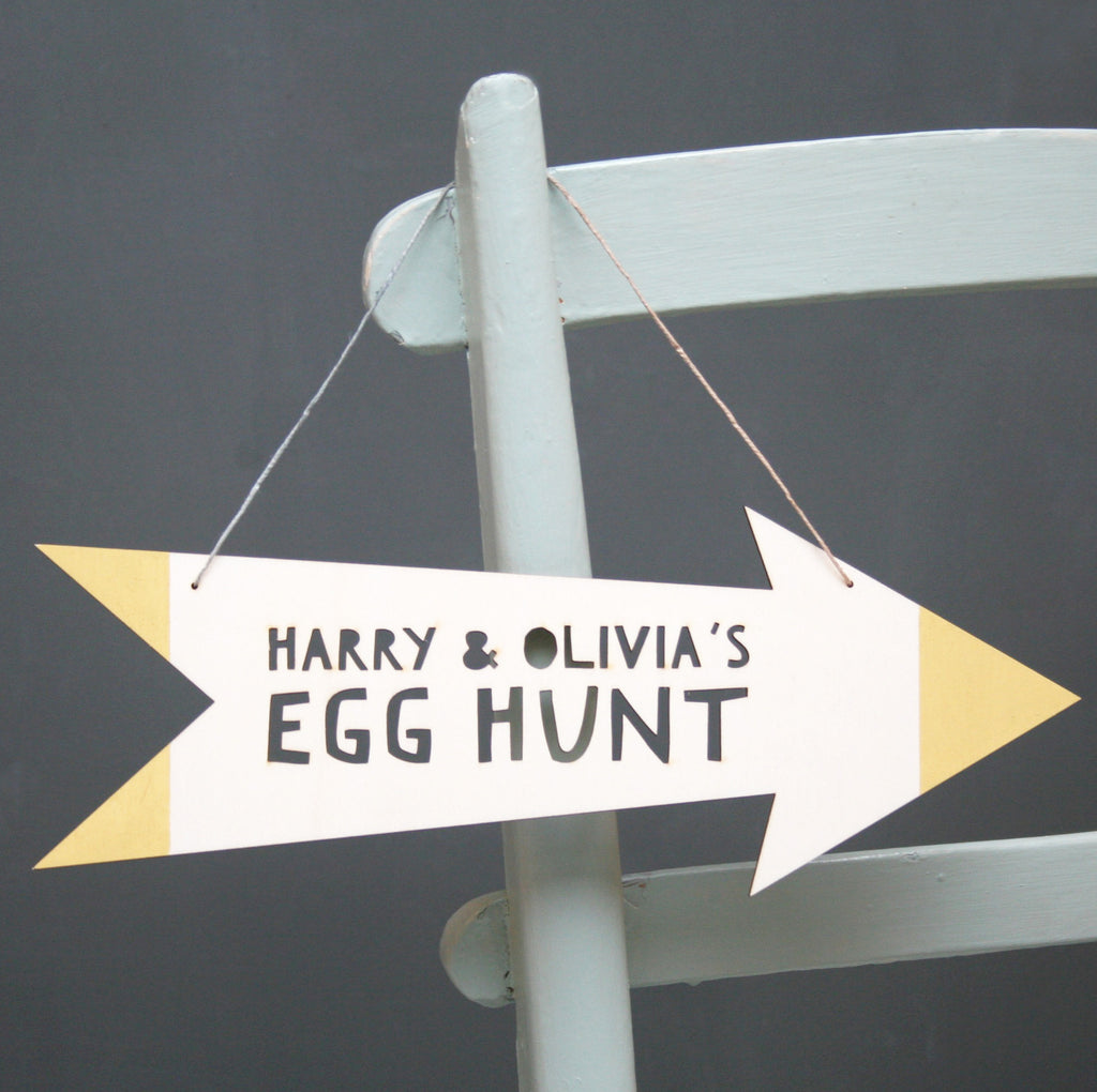 Personalised Easter Egg Hunt Wooden Sign