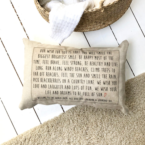 Personalised Linen Christening Wish Cushion