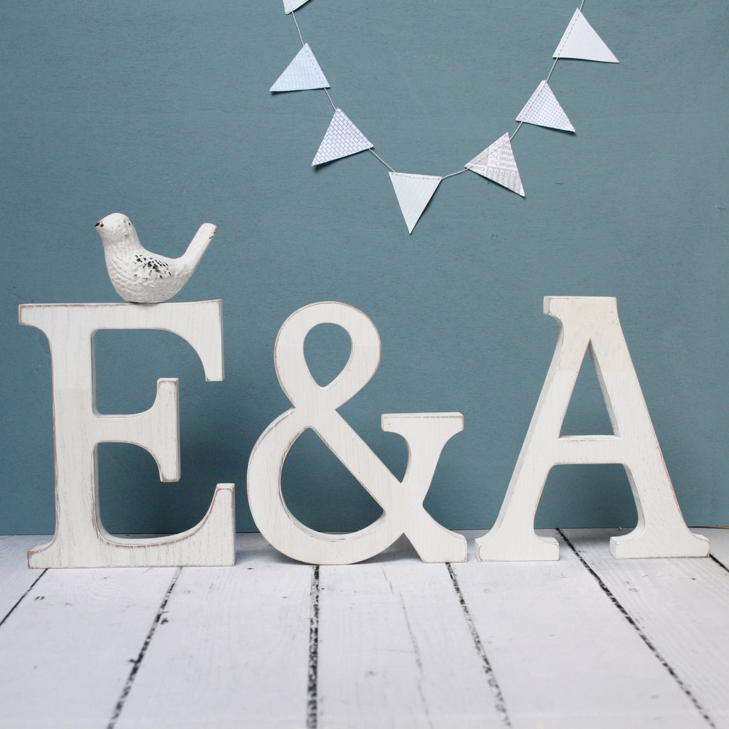Personalised White Oak Wedding Letters