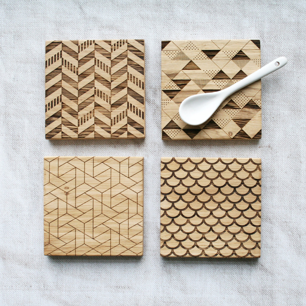 Geometric Engraved Oak Coasters