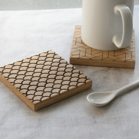 Geometric Engraved Oak Coasters Wholesale