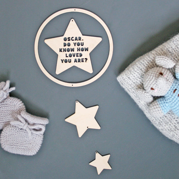 Personalised wooden star mobile
