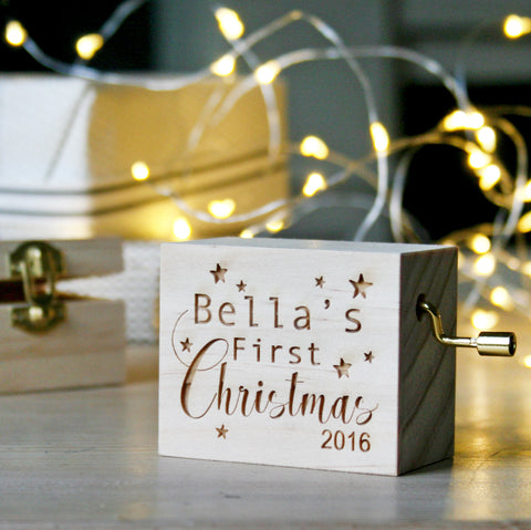 Personalised Traditional First Christmas Music Box