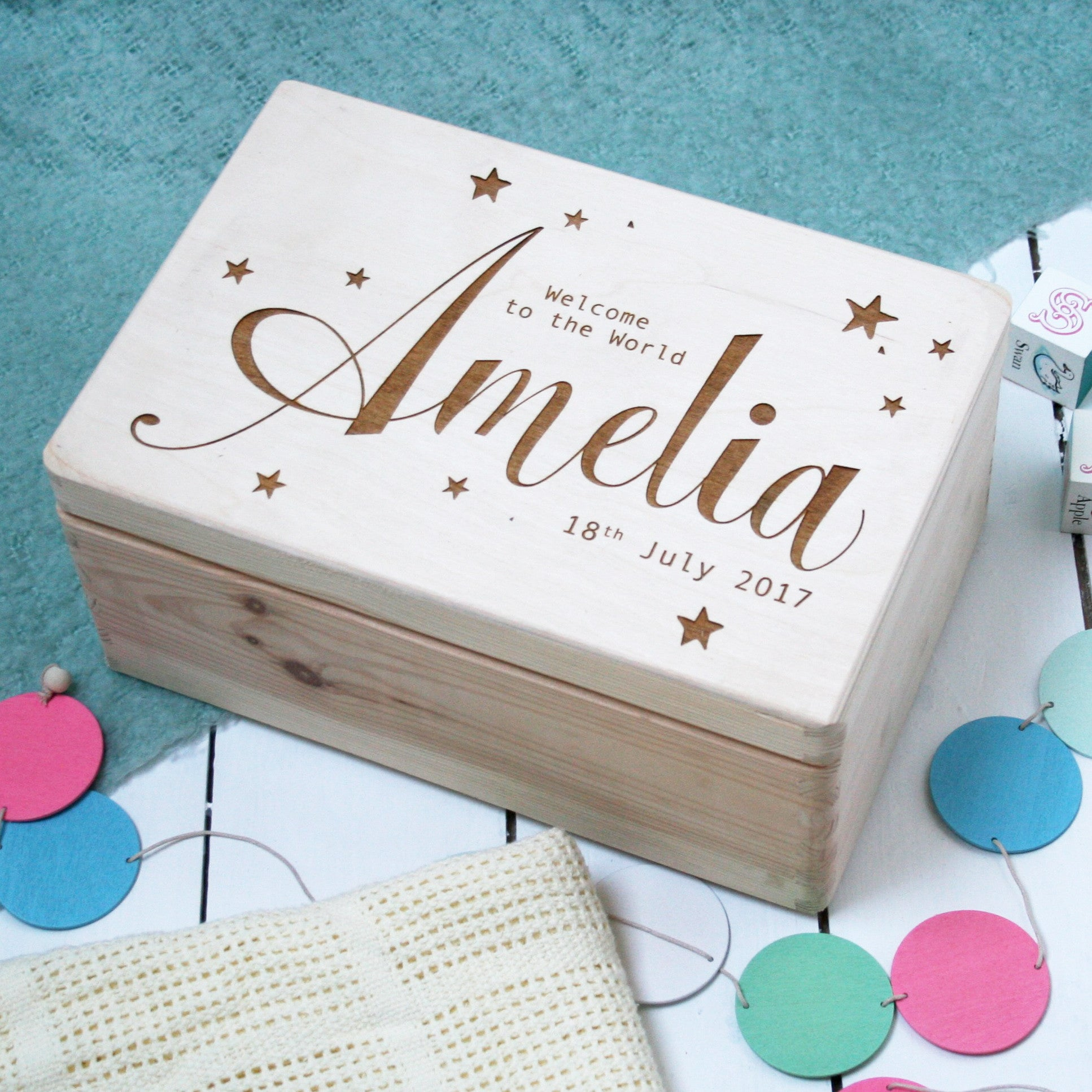 personalised wooden new baby keepsake memory box by modo. Black Bedroom Furniture Sets. Home Design Ideas