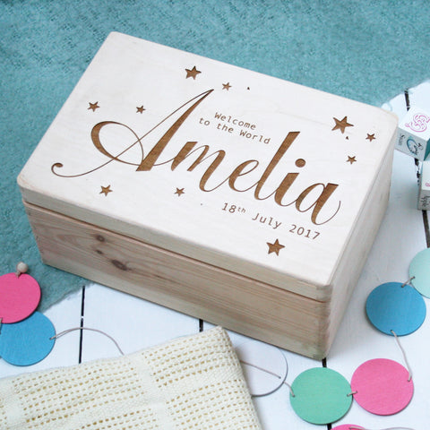 Personalised Wooden New Baby Keepsake Box