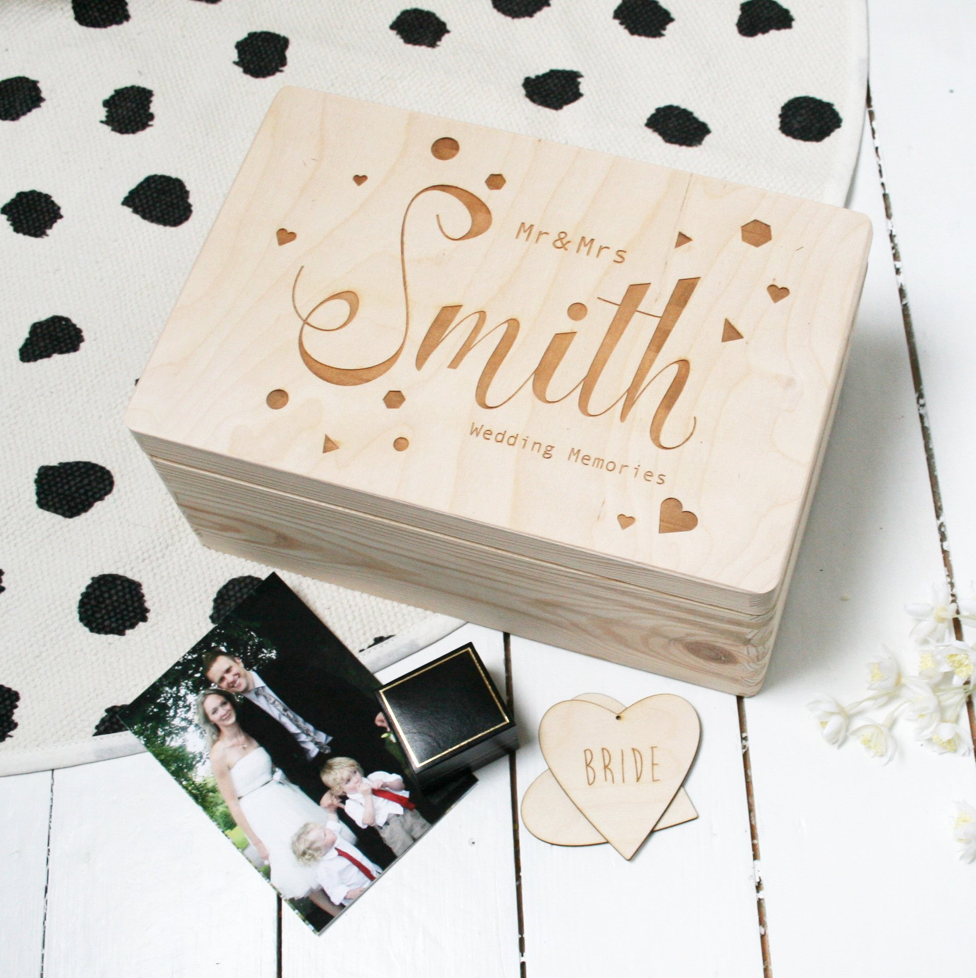 Personalised Wooden Wedding Memory Box Designed by Modo – Modo