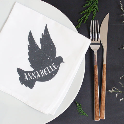 Personalised Dove Christmas Napkin