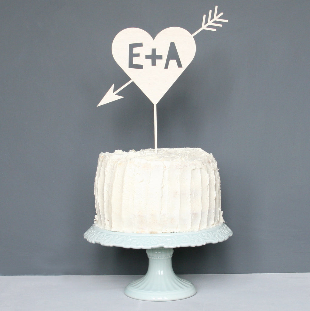 Personalised Cupids Initial Cake Topper
