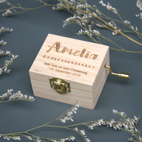 Personalised Christening Music Box