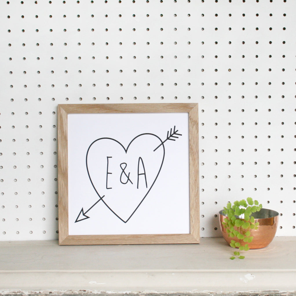 Personalised Framed Initial Cupid Arrow Print