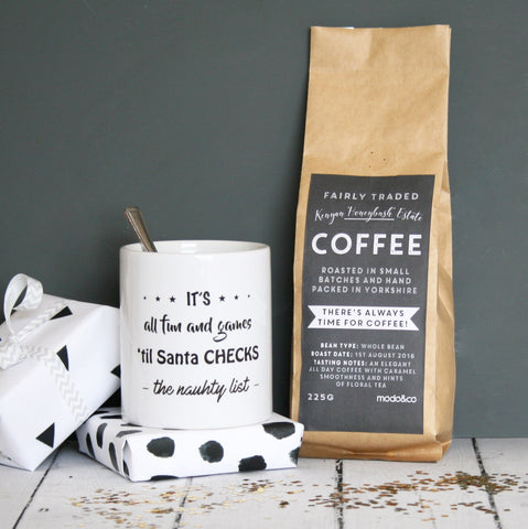 Personalised Naughty List Coffee And Mug Set