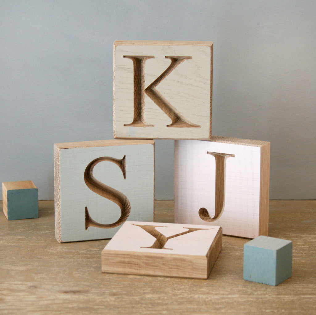 Personalised Pastel Oak Letter Blocks