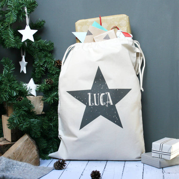 Personalised Star Name Christmas Sack