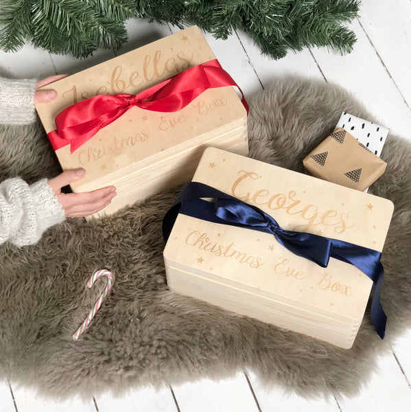 Personalised Ribbon And Name Christmas Eve Box