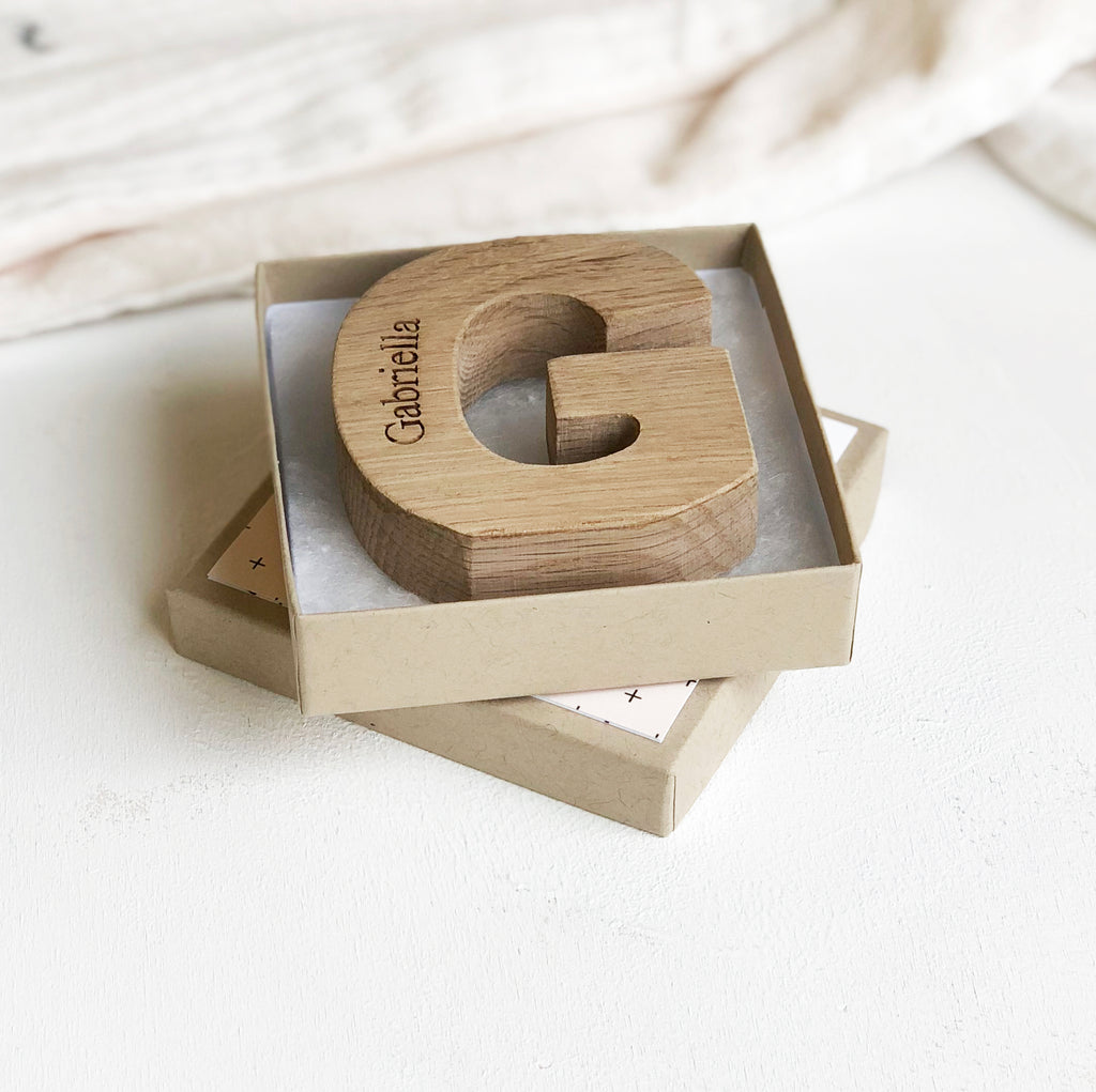 Personalised Christening Mini Oak Letter