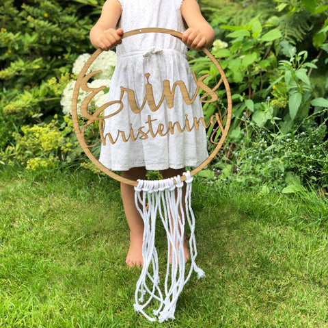Personalised Christening Boho Hoop