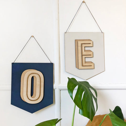 Personalised Wooden Graphical Initial Flag