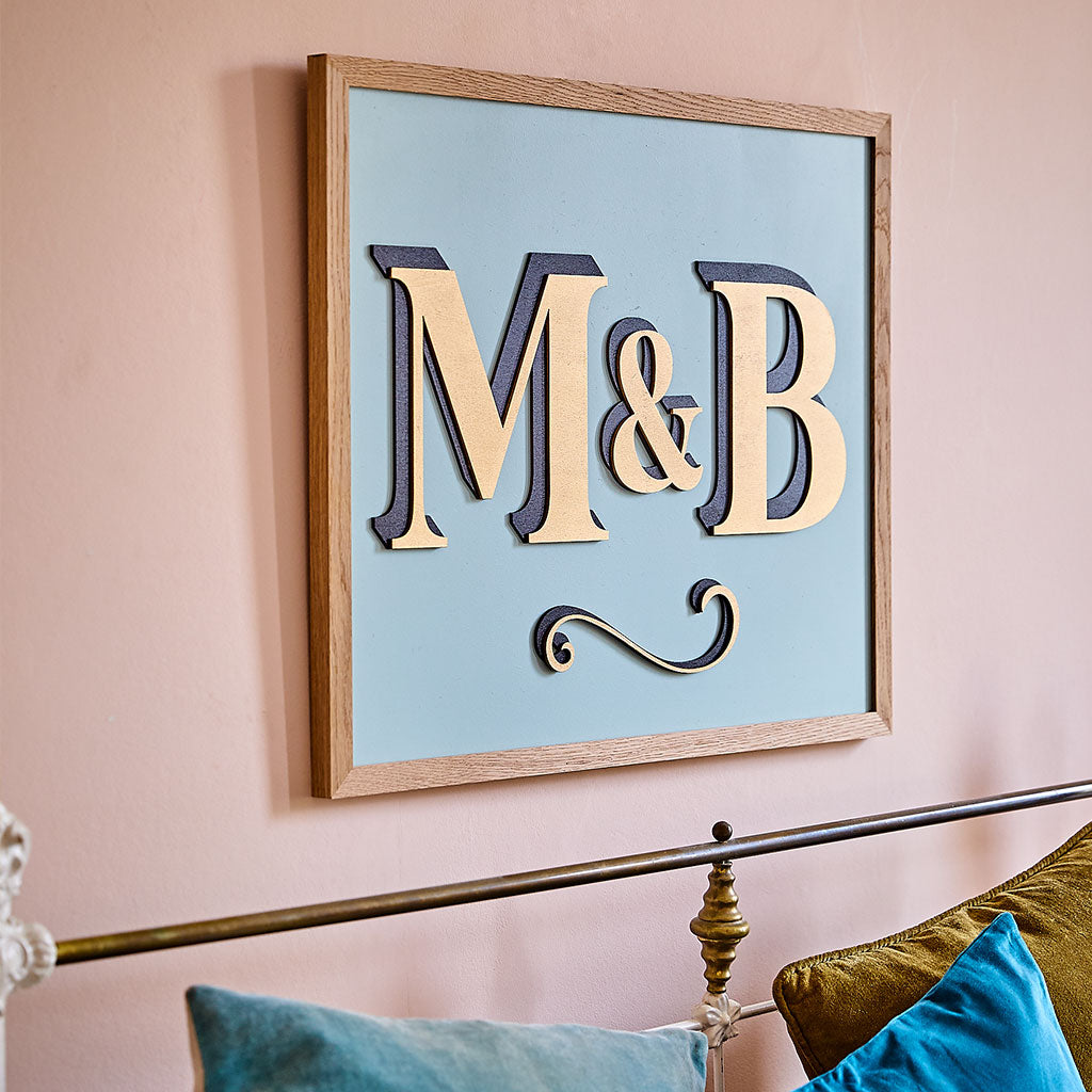Large Hand Painted Wooden Initial Sign