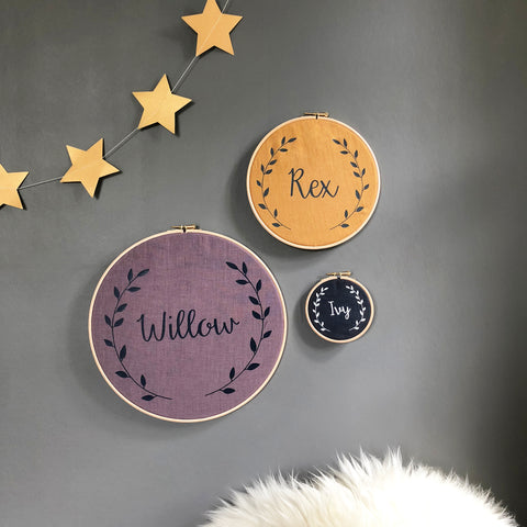 Personalised Linen Baby Name Hoop